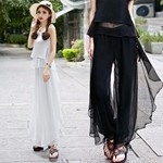 Women-Chiffon-Thin-Loose-Pants-Casual-Pleated-Full-Length-Trousers-Solid-Color-Black-White-Blue-Elastic