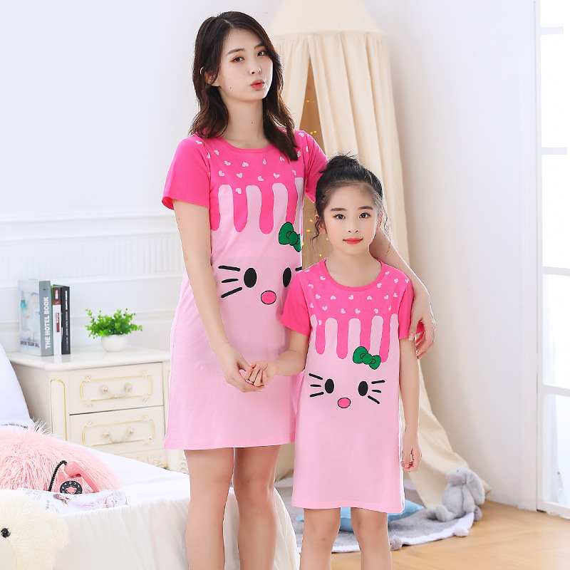 Mother Daughter Dressing Gown Nightdress Mom And Me Clother Girls Princess Dress Baby Pajamas Nightgown Cotton Causal Homewear