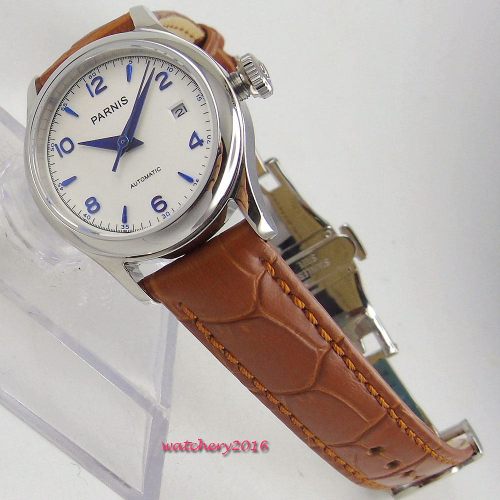 26mm parnis White Dial date window ladies Deployment Clasp sapphire glass 21 jewels MIYOTA Automatic movement