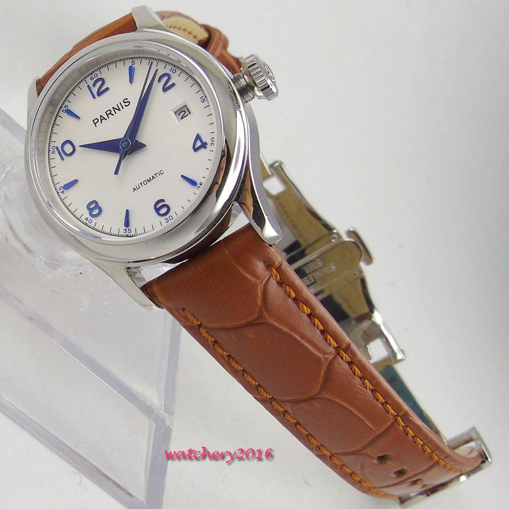 26mm parnis สีขาววันที่หน้าต่างสุภาพสตรี Deployment Clasp sapphire glass 21 jewels การเคลื่อนไหวอัตโนมัติ MIYOTA นาฬิกาข้อมือผู้หญิง-ใน นาฬิกาข้อมือสตรี จาก นาฬิกาข้อมือ บน   1