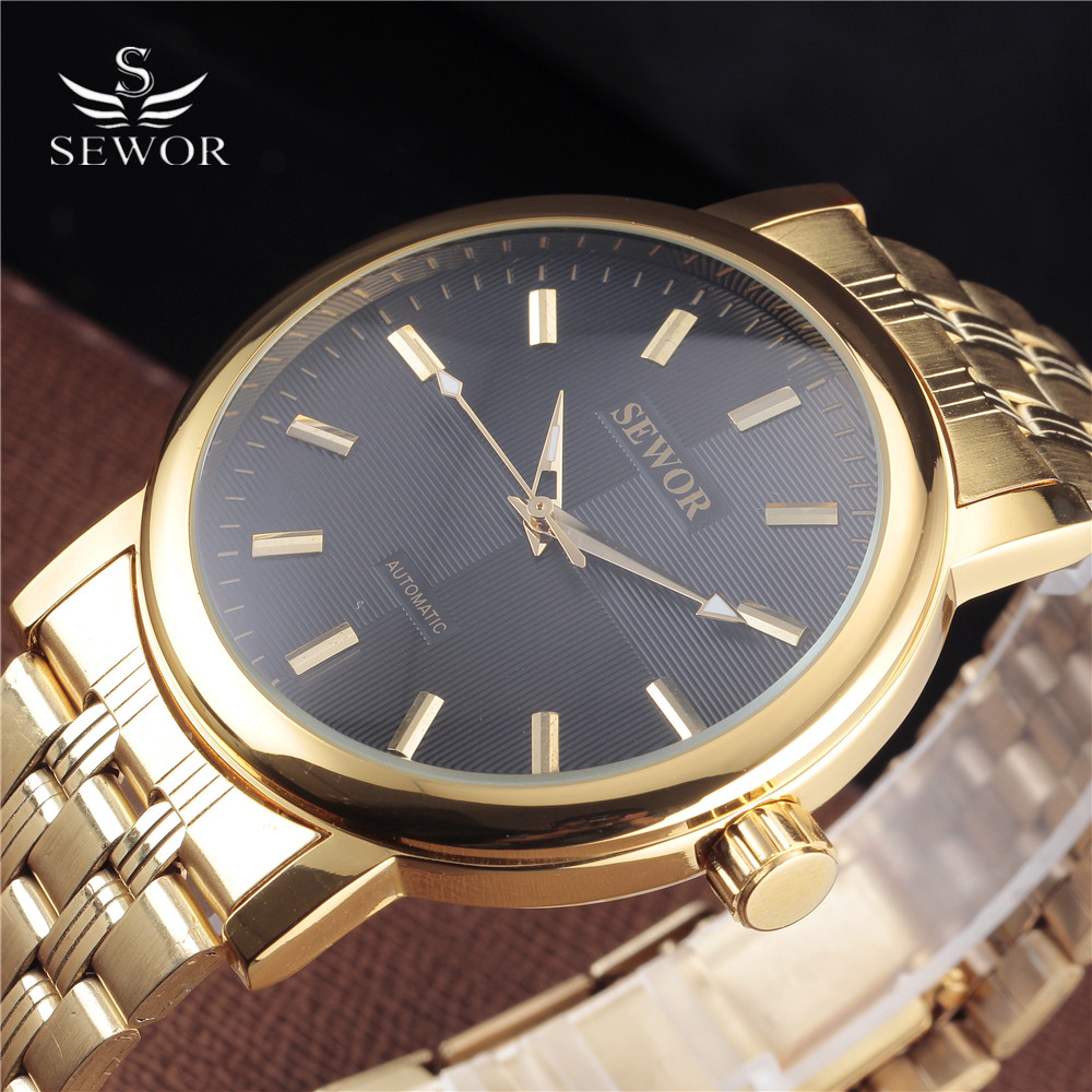 SEWOR Golden Watches Men Skeleton Mechanical Watch Stainless Steel Top Brands Luxury Man Watch Montre Homme Big Dial Wristwatch sewor golden men skeleton mechanical watch stainess steel steel diamond watches transparent steampunk montre homme wristwatch
