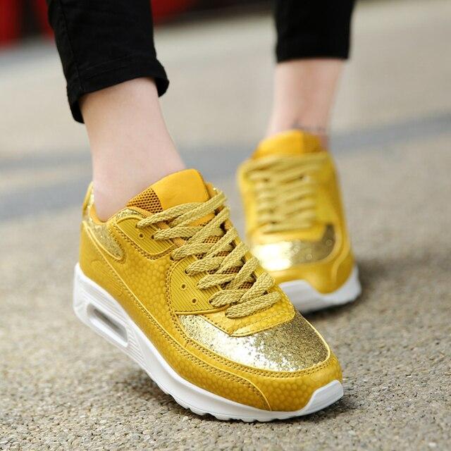 Женщины Тренеры Мода Клин Суперзвезда Обувь Спорт Блестками Ткань Повседневная Обувь Женщина Открытый Ходьбы Обувь Zapatillas Mujer YD36