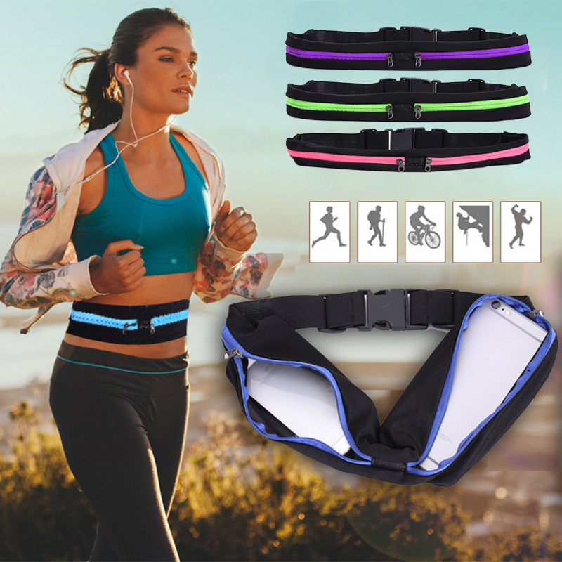 Expandable Sports Waist Bag Portable Waterproof Cycling WaistBag Fitness Running Belt Bags Adjustable Anti-theft 2 Pocket