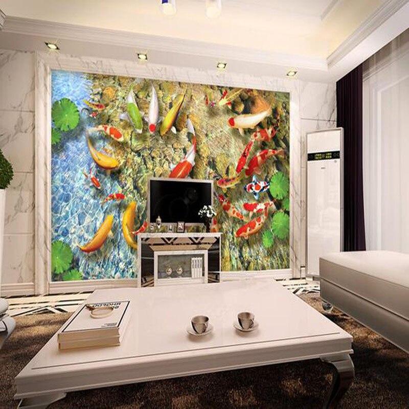 20m2 lot custome 3d fish ponds tv backdrop 80x80cm 3d for Bathroom fish decor