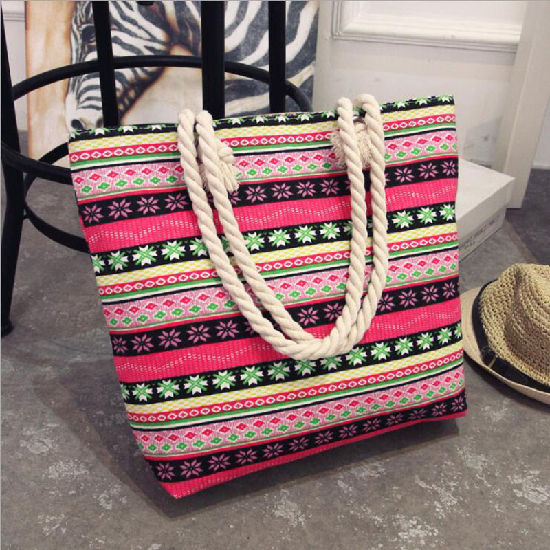Fashion Folding Women Big Size Handbag Tote Ladies Casual Flower Printing Canvas Graffiti Shoulder Bag Beach Bolsa Feminina(China)