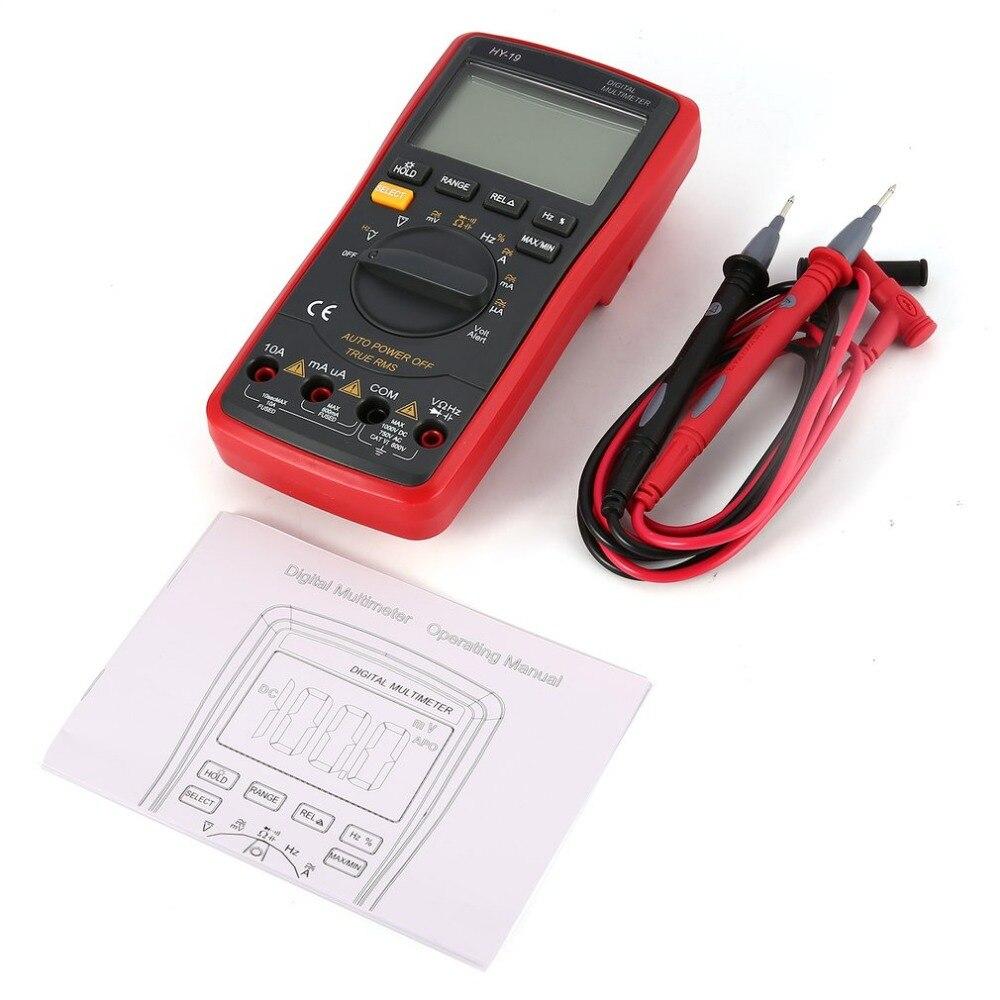 Digital Multimeter HY-19 DC/AC Voltage Current Meter Handheld Ammeter Ohm Diode Capacitance Tester 20000 Counts Multitester