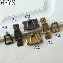 1.1 2.1 Antique Bronze Drop Ring Pulls Drawer Handles Knobs Dresser Vintage Cabinet