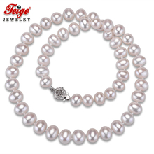 High quality White Natural Pearl Necklaces for Women Wedding Jewelry 8-9MM Freshwater Pearls Chorker Necklace Fine Jewelry FEIGE [zhixi] maxi natural pearl necklace fine jewelry white natural freshwater pearl chokers necklaces women gift for new year r13