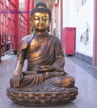 "24 ""El Tíbet Budismo bronce gild Miles Hoja Padma Amitabha Estatua de Buda"