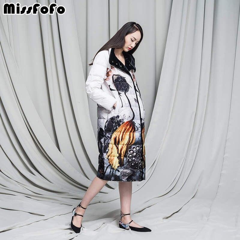 Long 2018 Manteau Bas D'hiver Féminine Conception Velours À Chinois D'encre Survêtement Élégant Mode 2xl Style Missfofo Multi Motif Vintage S 61zqBvwvd