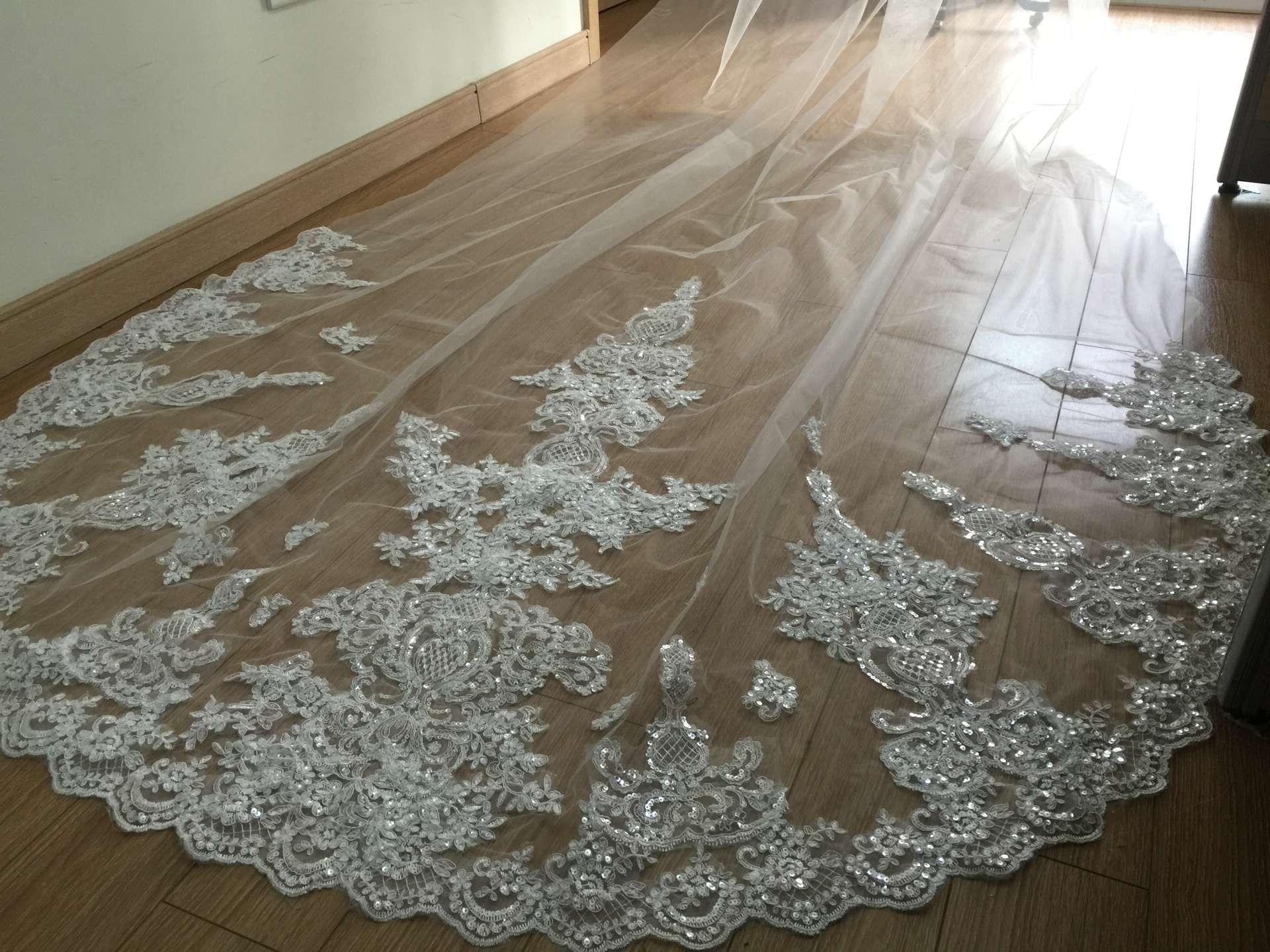 High-end custom sequins lace applique bride veil white beige wedding dress 3 m comb