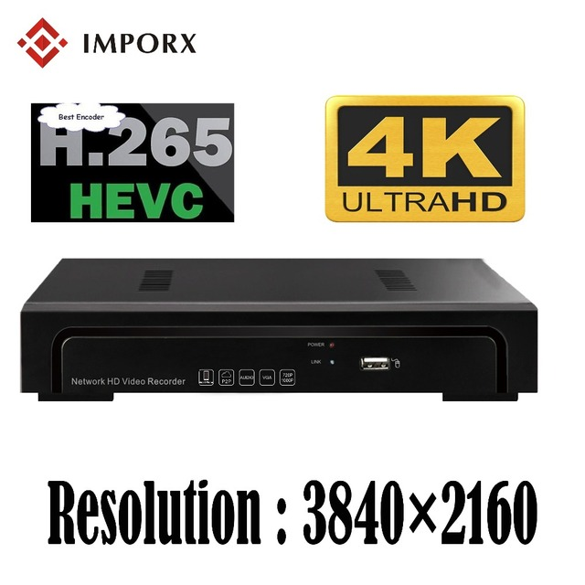 IMPORX Full HD Onvif 3840*2160 H.265 4CH 8CH CCTV 4K NVR IP Camera Security System Surveillance Video Recorder Support 6T HDD