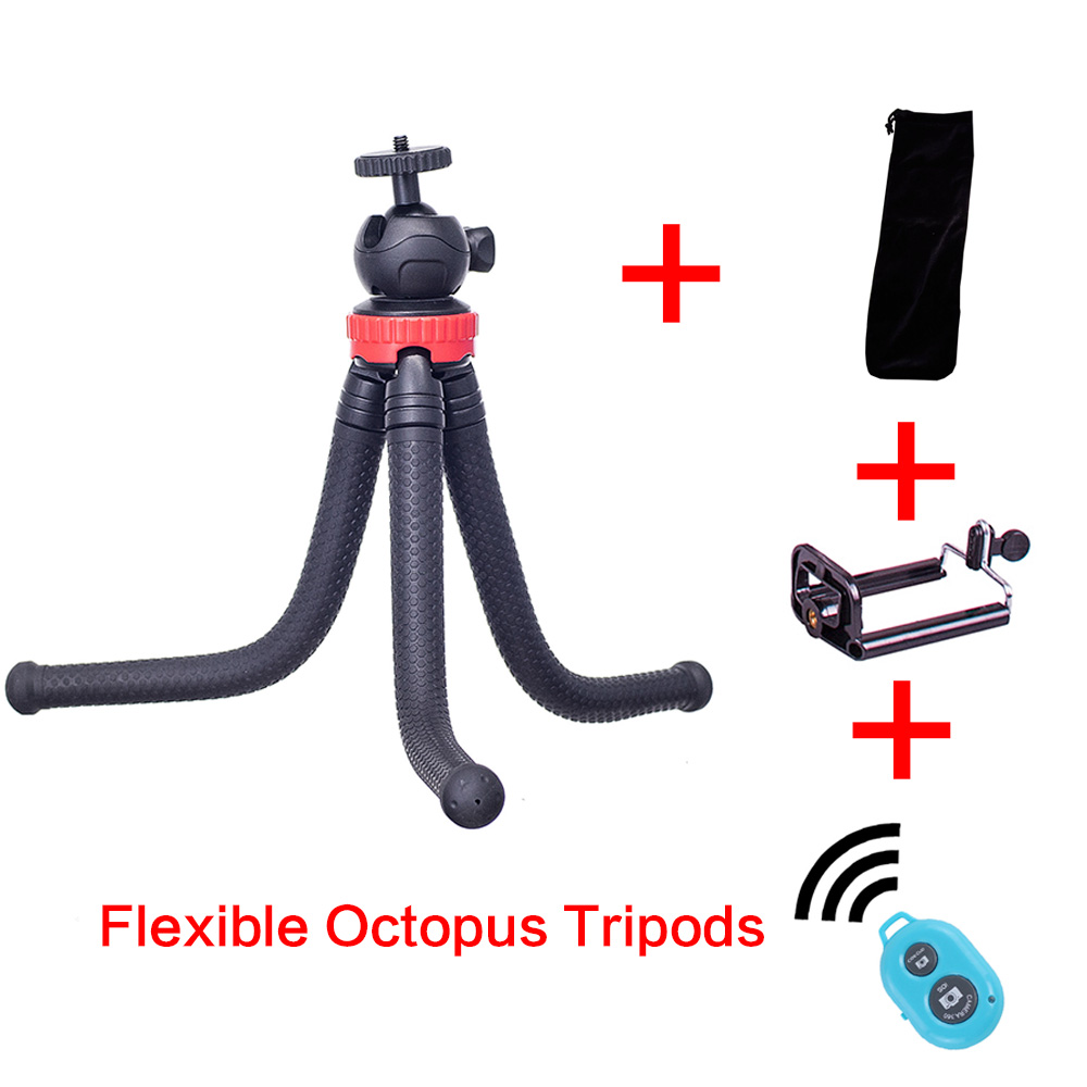 Mini Flexible Octopus Tripods Bluetooth controller Holder Adapter for iPhone X Smartphone DSLR Camera Canon Gopro Hero