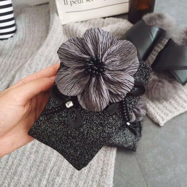 Оптовая 2 Пара/лот Популярные 2016 Осень-Зима женские Носки Высокого Качества Ручной Работы Большой Цветок Блестки Сплошной Цвет Носки Для женщины