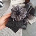 Atacado 2 Par/lote Popular 2017 Outono Inverno Meias das Mulheres de Alta Qualidade Artesanal Flor Grande Lantejoulas Cor Sólida Meias Para mulheres