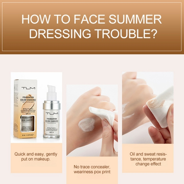 30ml  Color Changing Liquid Foundation Makeup Change To Your Skin Tone By Just Blending 2