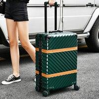 Aluminum frame+PC+ABS Thong vintage luggage waterproof retro wheels aluminum luggage for traveling custom lock scooter luggage