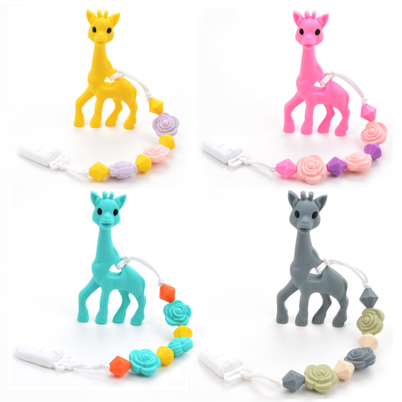 BPA Free Silicone Giraffe Teething Pacifier Clip Baby Carrier Teething Accessory Giraffe Teether Toy Chew Teething Pacifier Clip giraffe animal series many chew toy pet