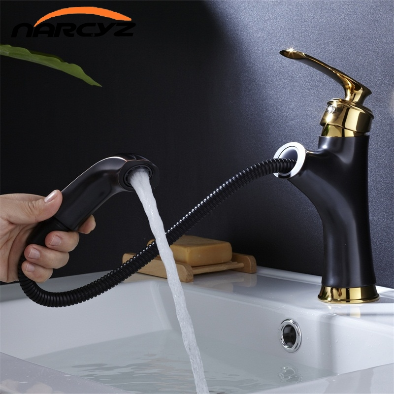 Basin Faucets Brass Black Modern Pull Out And Down Bathroom Faucet Kitchen Sink Faucet Toilet Mixer Tap Hot Cold Water  B575Basin Faucets Brass Black Modern Pull Out And Down Bathroom Faucet Kitchen Sink Faucet Toilet Mixer Tap Hot Cold Water  B575