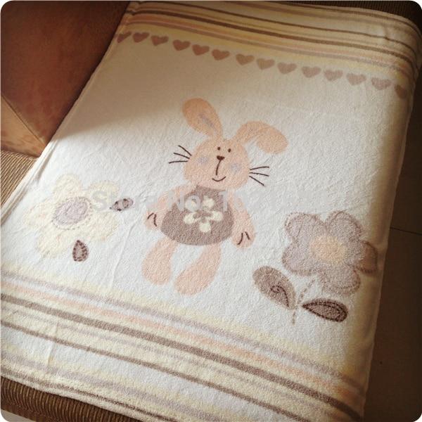 100X75CM Soft Bunny Baby Blanket Plush Coral Fleece Throw