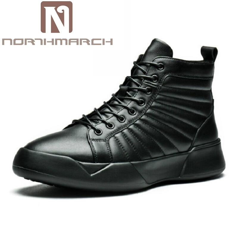 NORTHMARCH 2017 Winter Men Ankle Boots New Fashion Ankle Boots Men Work Shoes Man Lace Up Pleated Leather Boots Botas Militares box pleated lace