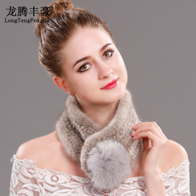 Mink Fur scarf fox ball Genuine tube female scarves solid color Soft warm 2017 Russian Winter Scarf ladies women