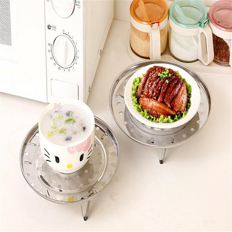 Cooking Round Stainless Steel 22cm Diameter Steaming Rack  Pot Steaming Tray Stand Cookware Tool W Stand