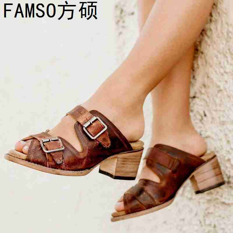 FAMSO 2019 New Shoes Women Sandals Peep toe High thick Heels Slides Buckle Retro Style Lady