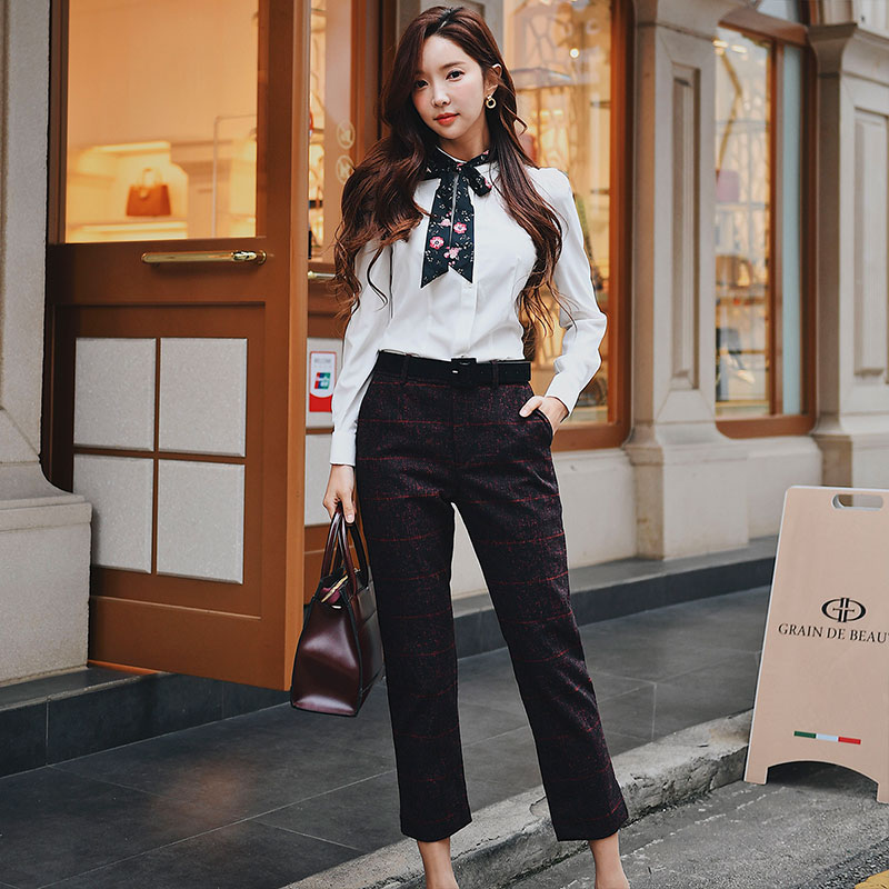 Dabuwawa Women High Waist Long Pants New Fashion OL Straight Trousers Wine Red Capris Plaid Ankle-Lenngth Pants D18ANT008