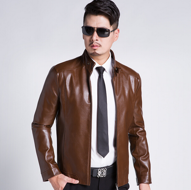 2016 New Arrival Spring And Autumn Leather Jacket Stand Collar Leather Jacket Men Leather Coat Men M-XXXL