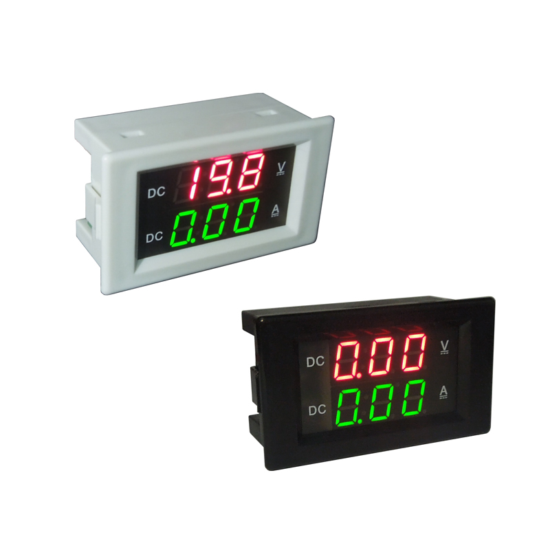 Digital <font><b>DC0</b></font>-<font><b>100V</b></font>/20A Voltmeter Ammeter Red green LED Dual Display for 12v 24v Car Voltage Current Monitor No Need External Shunt image