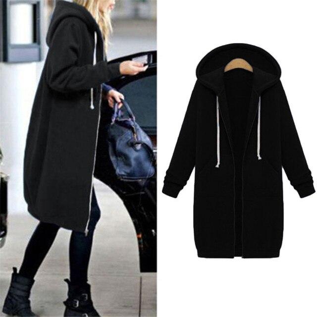 Autumn Winter Coat Women 2019 Fashion Casual Long Zipper Hooded Jacket Hoodie Sweatshirt Vintage Outwear Coat Plus Size 4