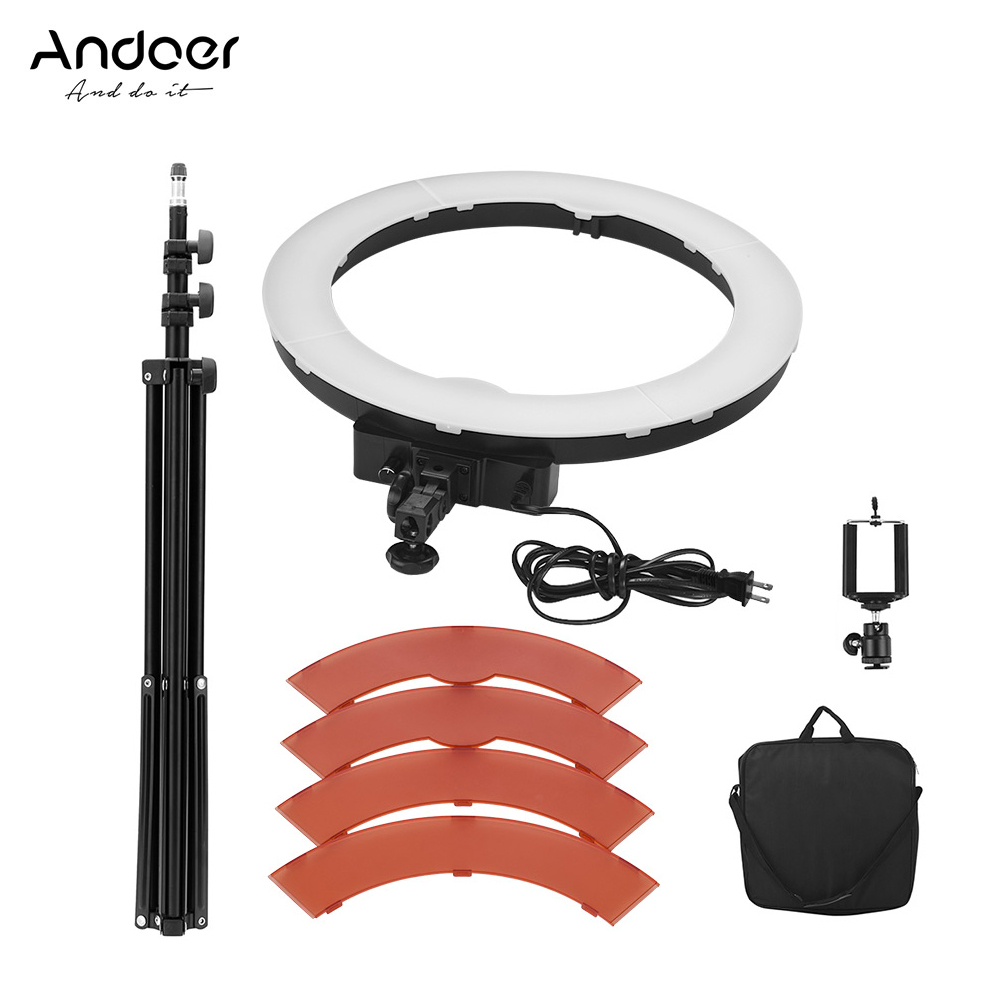 Andoer 19in 36W LED Lamp Ring selfie Video Light photo Photography Studio Fill in Light LED Beads 5500K Adjustable Brightness-in Photographic Lighting from Consumer Electronics    2