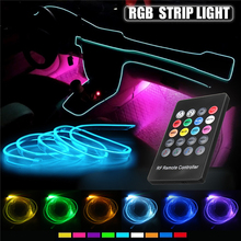 цены на Car RGB LED Strip Light Interior Decor Atmosphere Light Music Sound induction Active Remote Control Rhythm Car Neon Accent Light  в интернет-магазинах