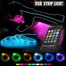 Car RGB LED Strip Light Interior Decor Atmosphere Music Sound induction Active Remote Control Rhythm Neon Accent