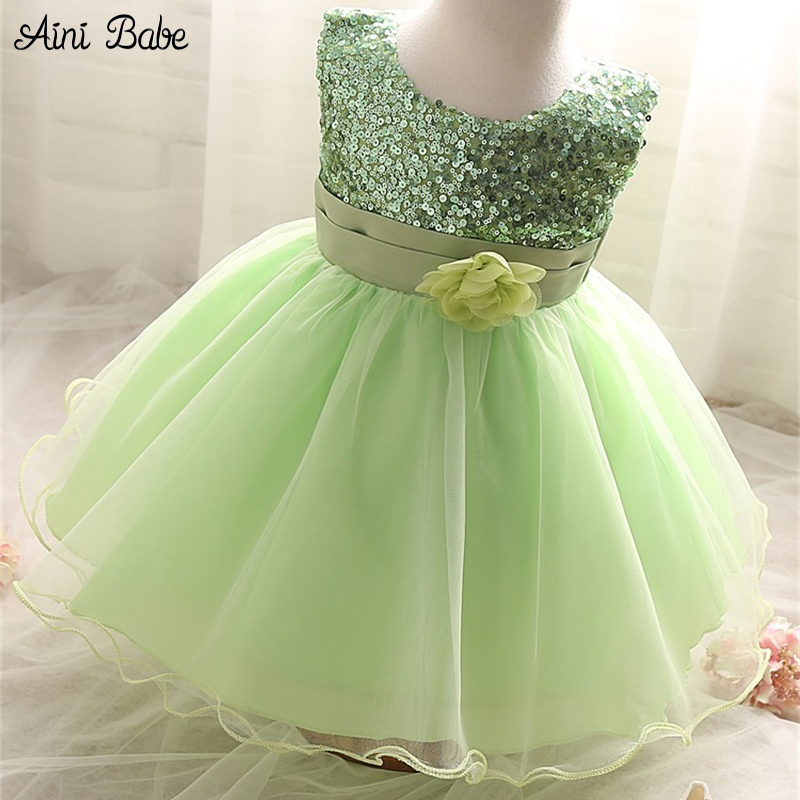 Aini Babe Sequins Ball Gown Newborn Toddler Girl Baptism Dress 1 Year Birthday Party Infant Baby Girl Clothes Costume Vestidos
