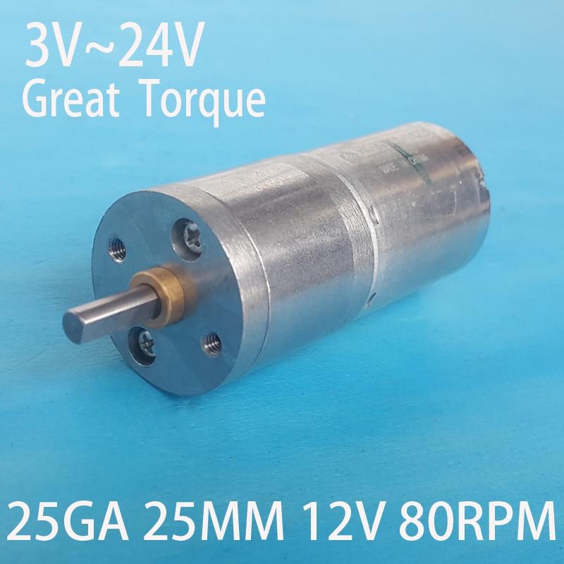 25MM DC 12V 80RPM Motor 370dc gear motor Powerful High Torque Gear Box Motor 3V 6V 24V DC Brush Motor NO-Brushless