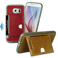 Luxury Genuine Leather Soft TPU Silicone Cover With Card Holder On Back Case For Samsung Galaxy