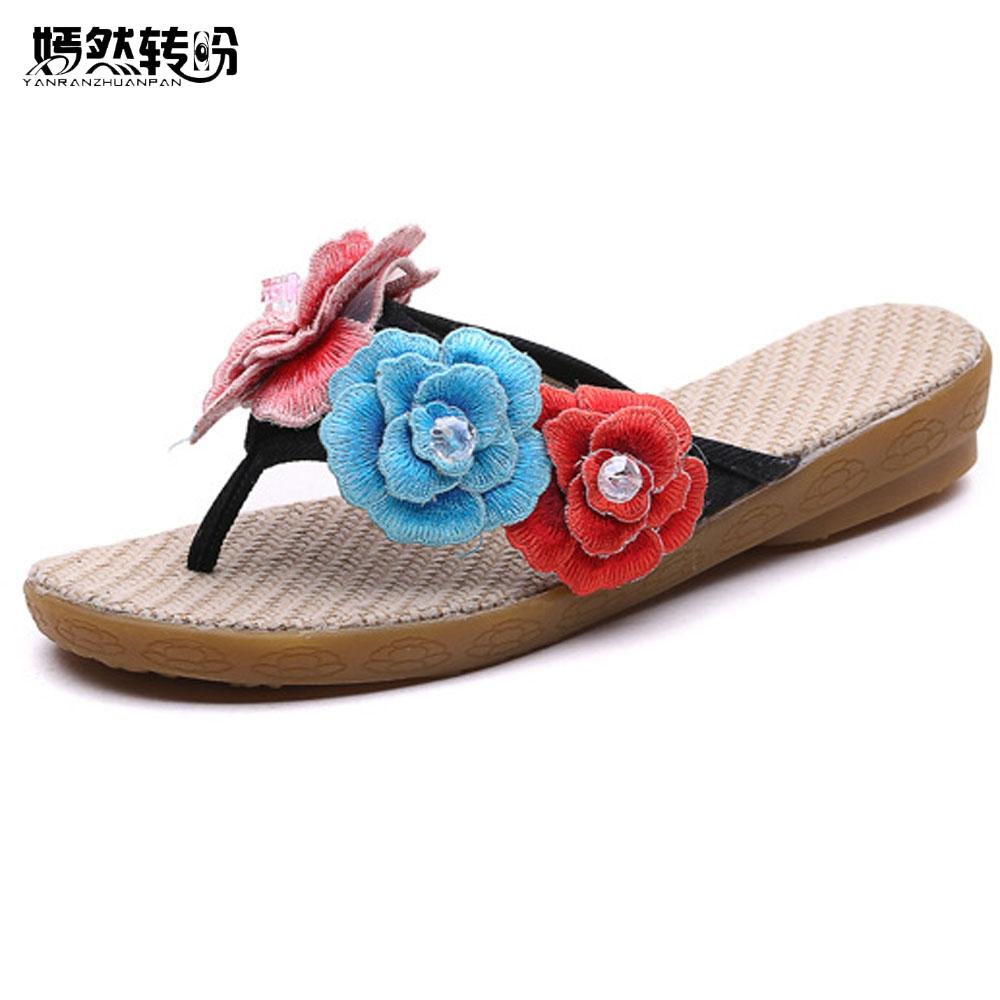 Summer New Women Slippers Floral Embroidery Rhinestone Beach Shoes Cotton Cloth Soft Sole Casual Flip Flops Travel Slippers vintage embroidery women flats chinese floral canvas embroidered shoes national old beijing cloth single dance soft flats