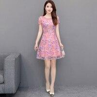 AIYANGA Summer Dress Women 2019 Fashion Print Elegant Dresses Female Plus Size Party Dress Vintage Sexy Short Sleeve Wear