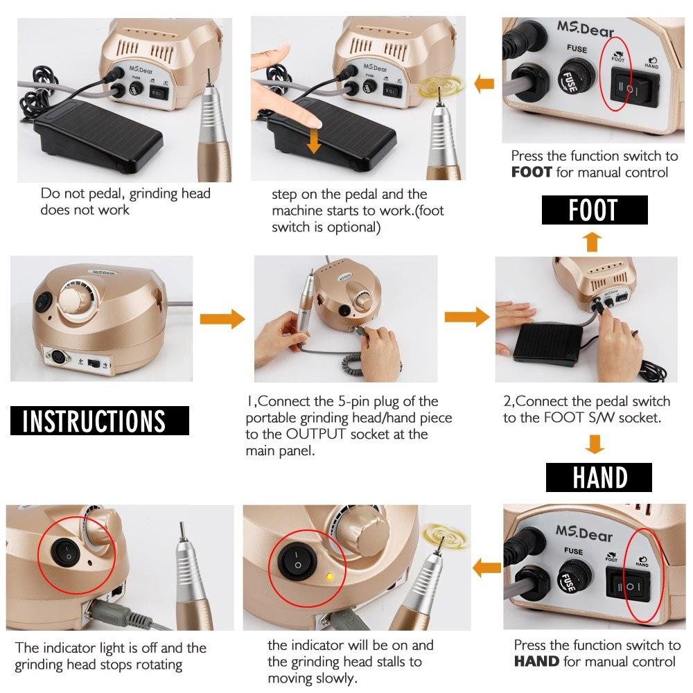 35000 RPM Aparato de máquina profesional para manicura pedicura Kit de Lima eléctrica con cortador de broca de herramienta de pulidor de arte - 6