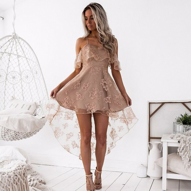 Champagne A Line Lace Homecoming Dresses Spaghetti Strap Short Front Long Back Party Dress Junior Gown In Stock