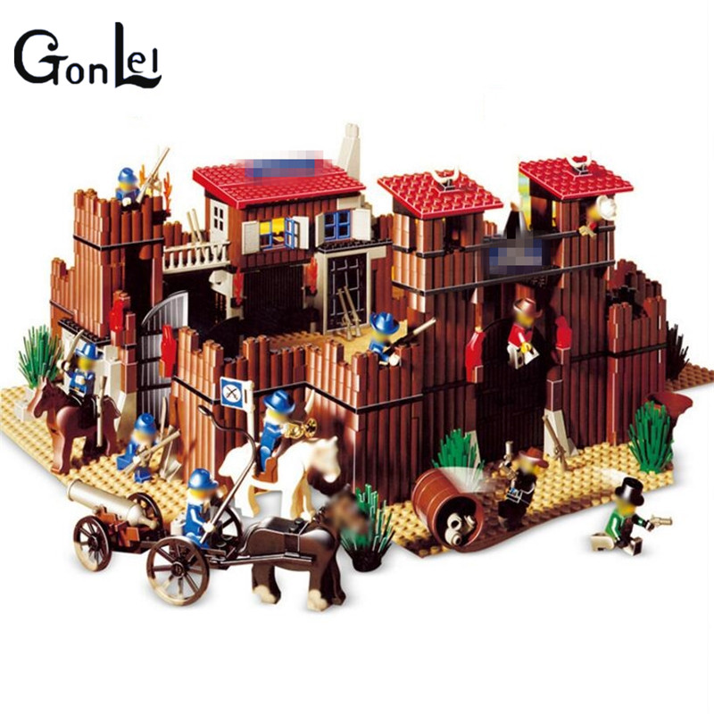 (GonLeI)33001 War Castle Building Block Series Western Cowboy Educational Brick Toys Children Christmas Gift new lepin 16008 cinderella princess castle city model building block kid educational toys for children gift compatible 71040