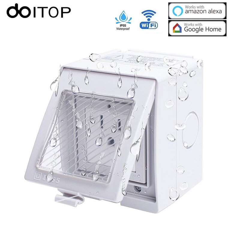DOITOP Waterproof WiFi Smart Socket Outlet Plug Wireless Power Socket Timer Setting App Remote Control for iPhone Android A3