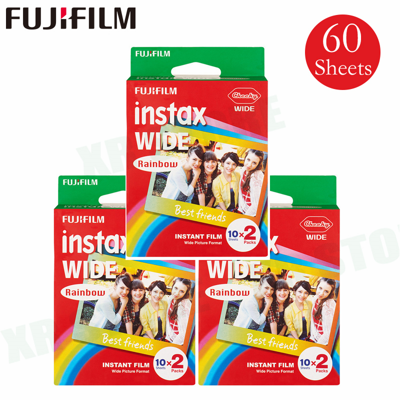 60 Films Fujifilm Instax Arc-En-Large Instant Bord Blanc Pour Fuji Caméra 100 200 210 300 500AF Lomography photo