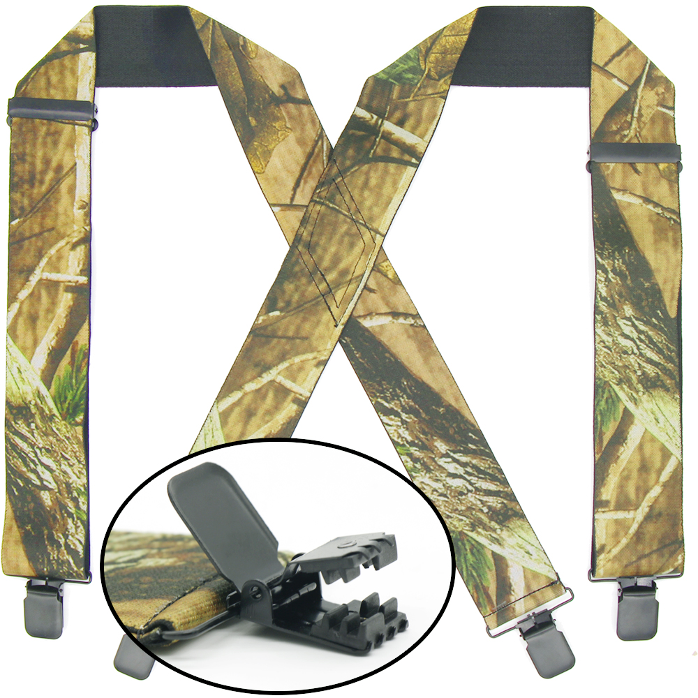 Camo Suspenders For Men X-Back Adjustable Wide Stretchy Elastic Straps Hiking/Official Wear Suspenders Heavy Duty Wear