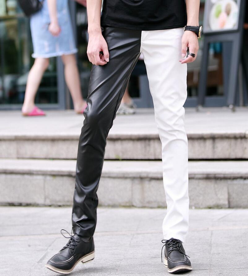 Alternative personality nightclub tight leather trousers black white mixed colors stage performances costumes leather pants