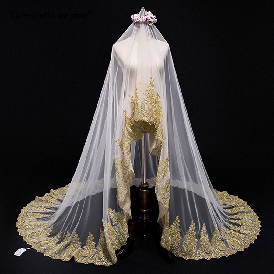 Velo de novia2018 new gold Cathedral Veil 3M long luxury sluier wholesale voile mariage stock wedding accessories