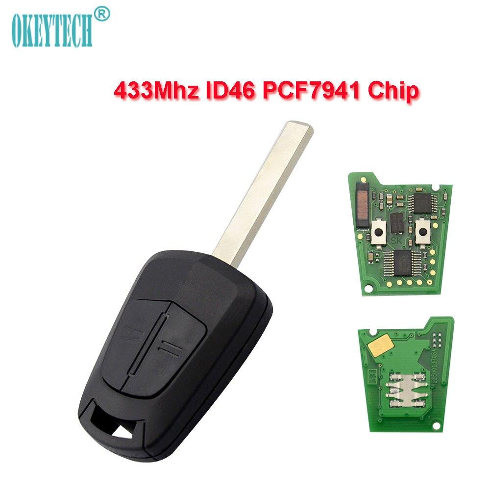 OkeyTech für Opel Funkschlüssel 433 mhz ID46 PCF7941 Chip Ungeschnittenes blatt 2 Tasten Für Opel Vauxhall Astra H J Corsa Insignia Control