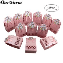 OurWarm 12pcs Cute Pink/Blue Baby Shower Wedding Birthday Party Candy Boxes  Gift Boy & Girl Paper Baptism